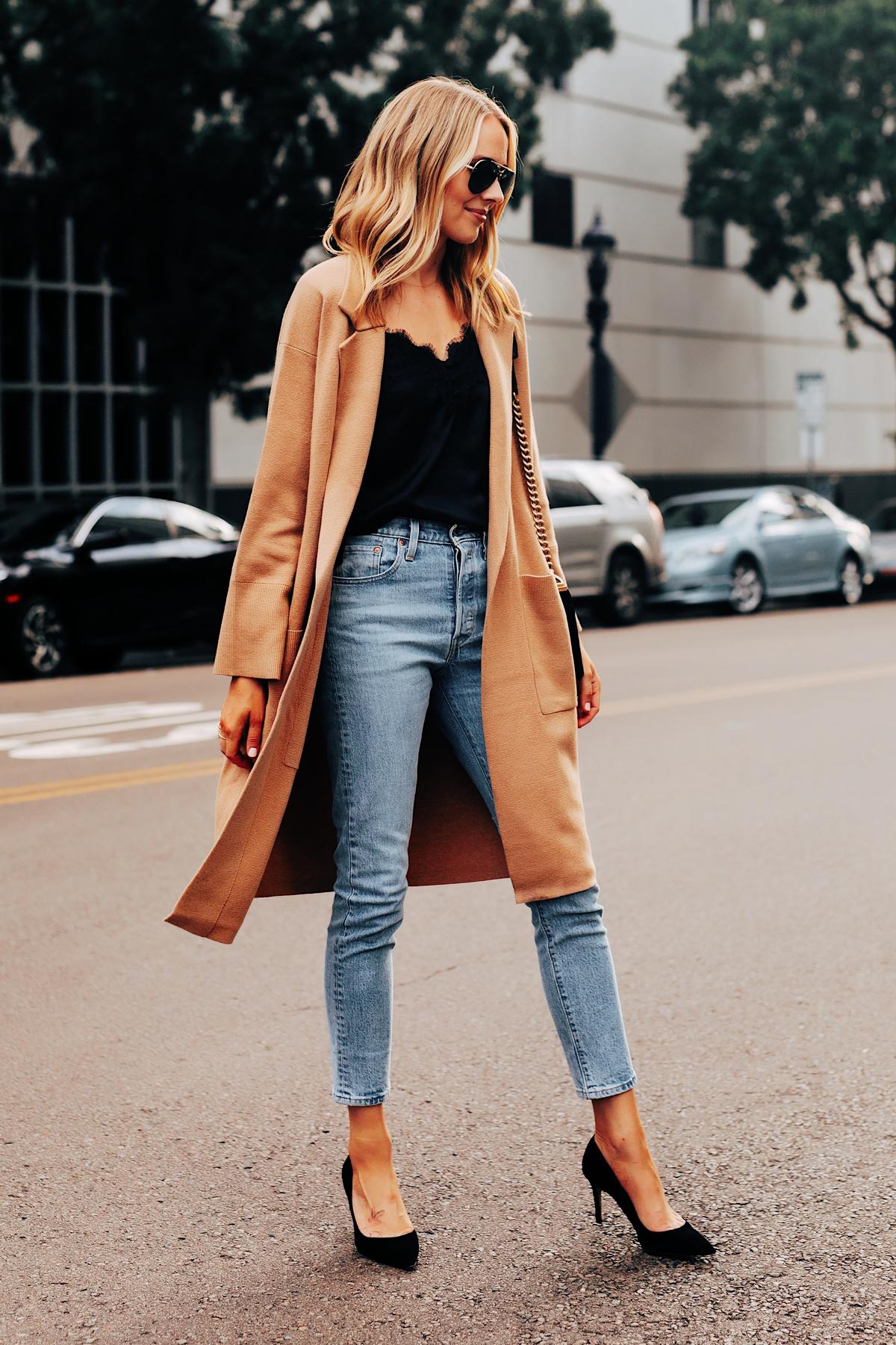 Fashion Jackson Wearing Jcrew Camel Coatigan Black Lace Cami Levis Jeans Black Pumps