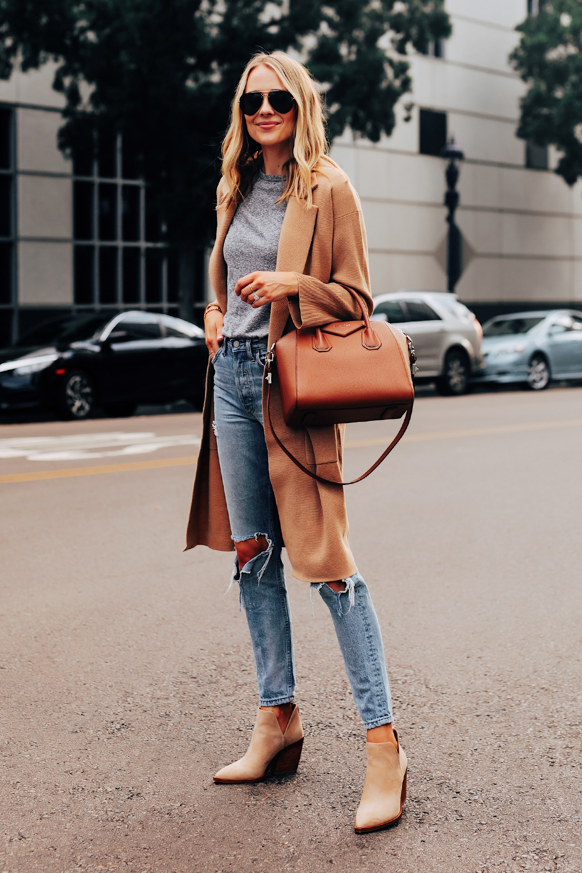 Fashion Jackson Wearing Jcrew Camel Coatigan Grey Tshirt Ripped Jeans Tan Suede Booties Givenchy Antigona Cognac Handbag