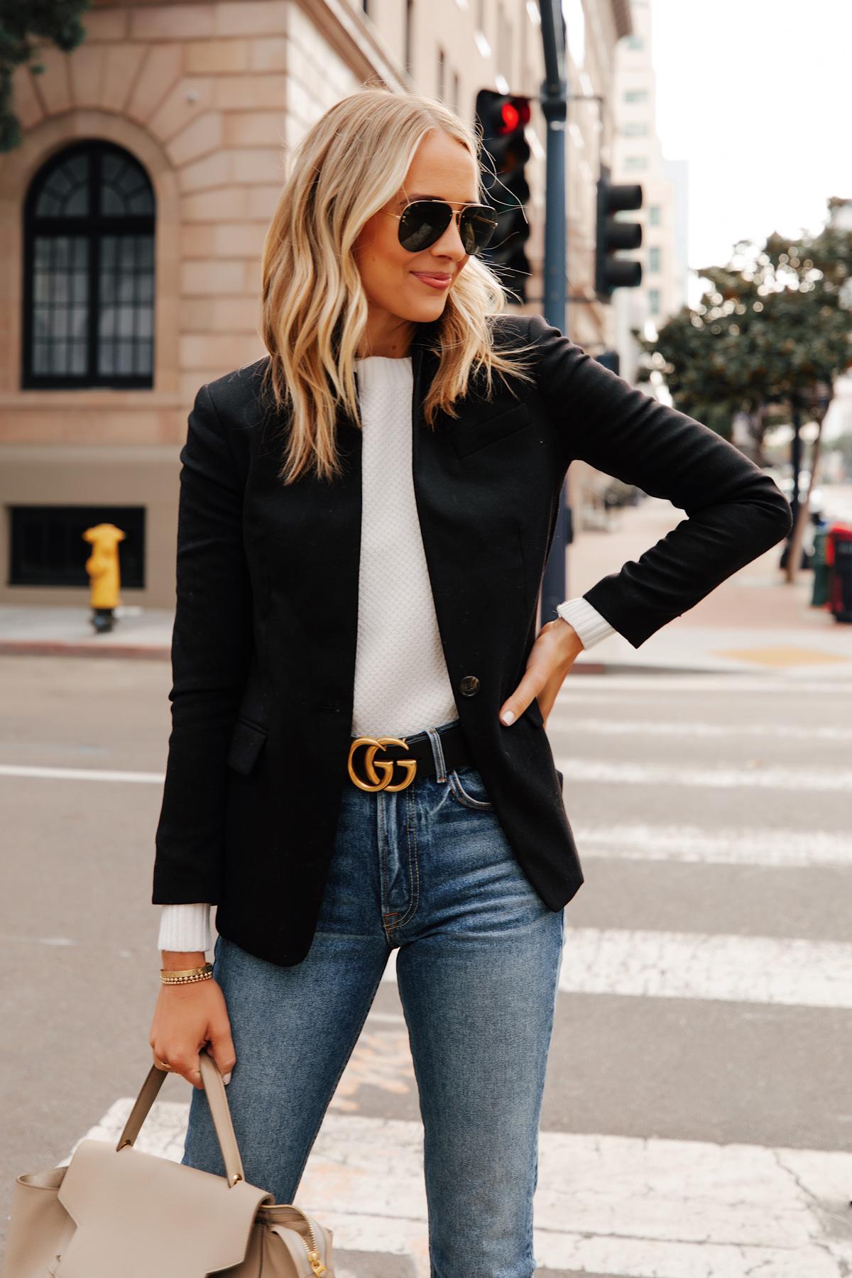 Fashion Jackson Wearing Jcrew Regent Black Blazer White Sweater Gucci Designer Belt Jeans 1