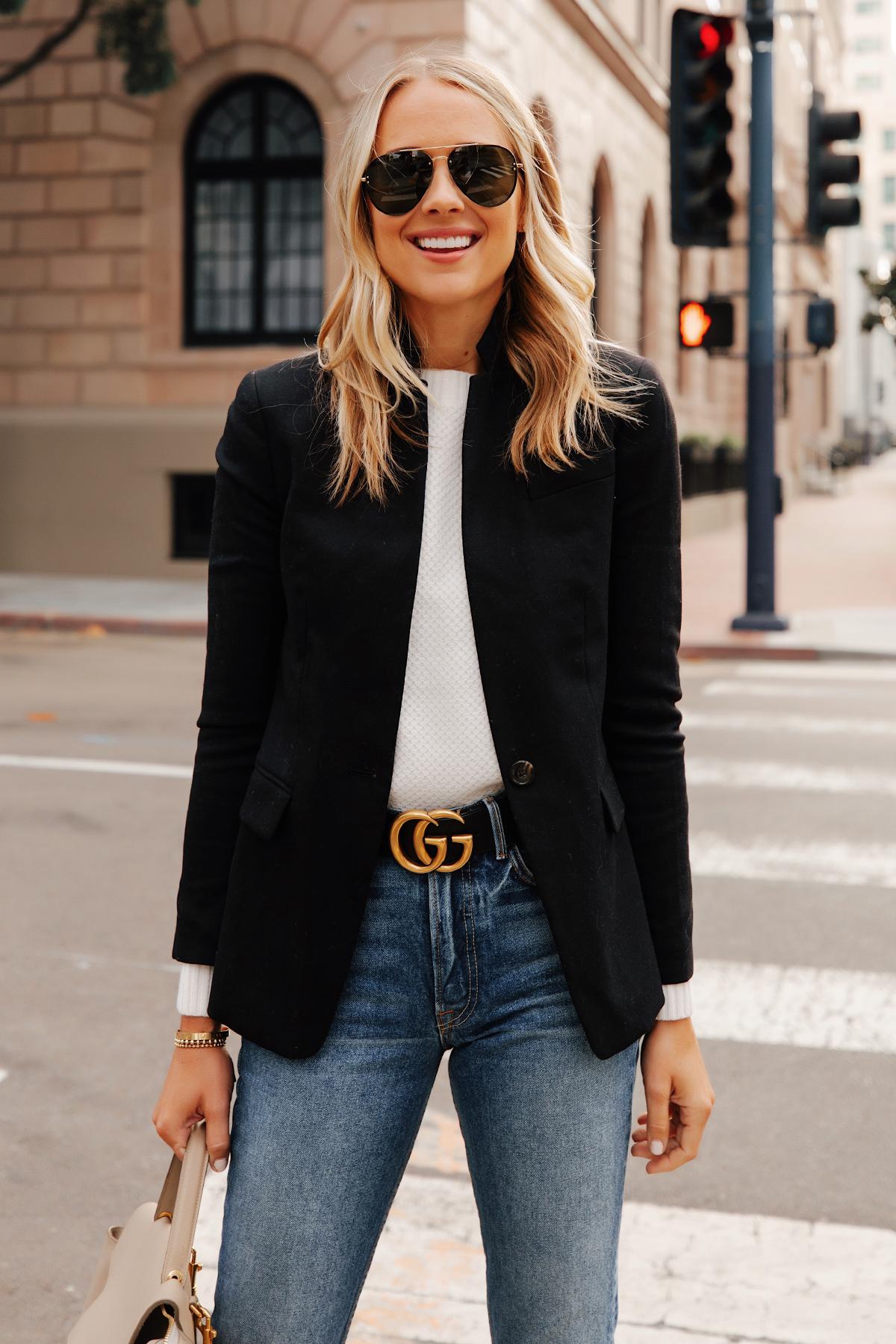 Fashion Jackson Wearing Jcrew Regent Black Blazer White Sweater Gucci Designer Belt Jeans