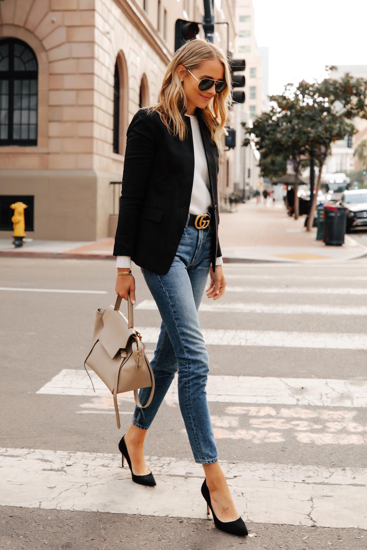 Fashion Jackson Wearing Jcrew Regent Black Blazer White Sweater Gucci Designer Belt Skinny Jeans Black Pumps Celine Belt Bag 1
