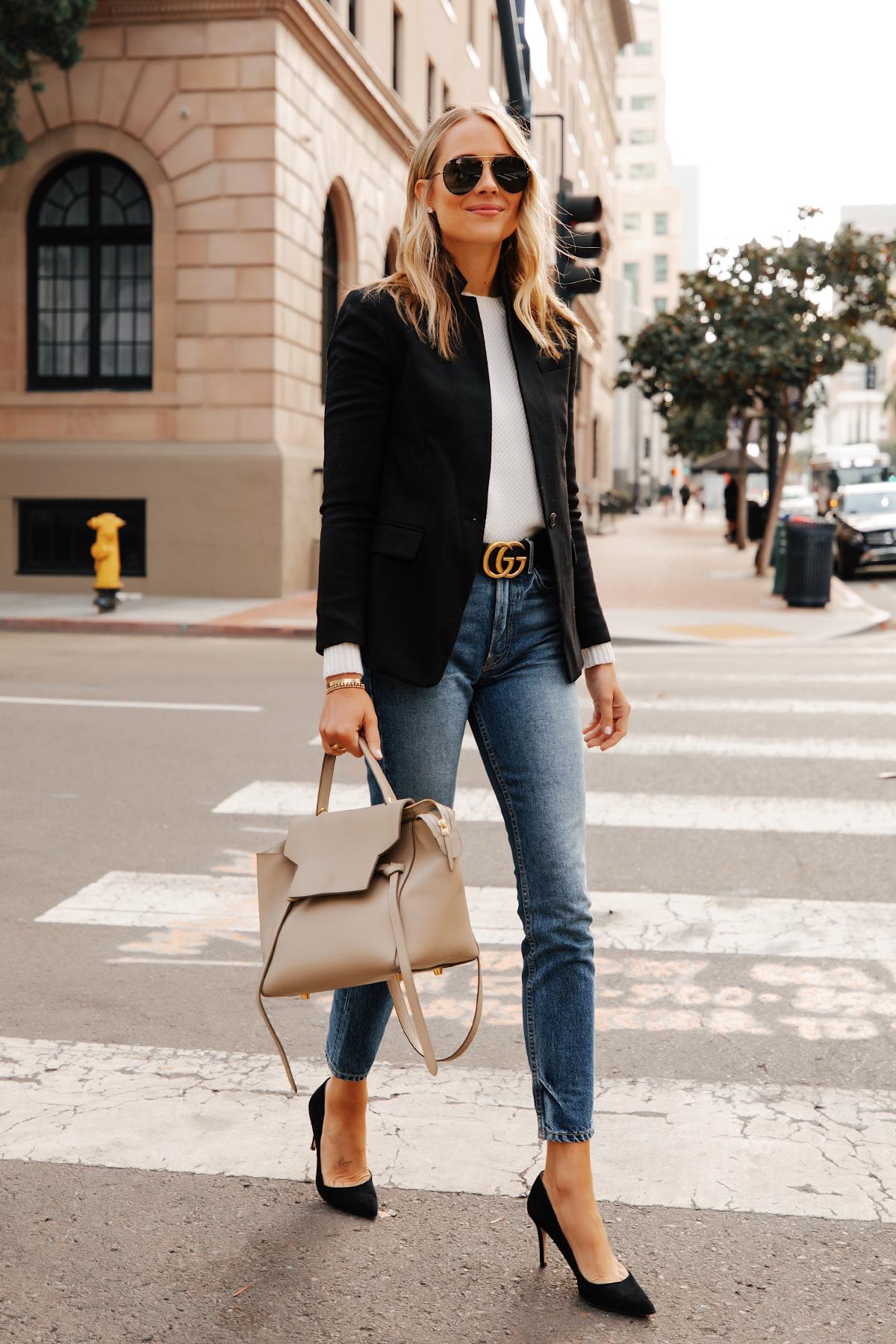 Fashion Jackson Wearing Jcrew Regent Black Blazer White Sweater Gucci Designer Belt Skinny Jeans Black Pumps Celine Belt Bag
