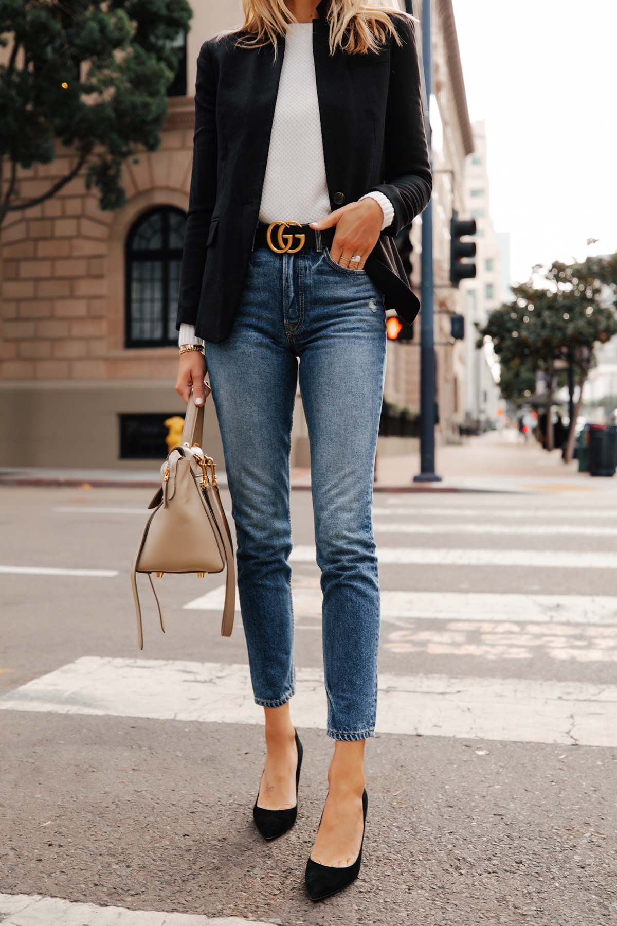 Fashion Jackson Wearing Jcrew Regent Black Blazer White Sweater Gucci Double G Black Belt Skinny Jeans Black Pumps