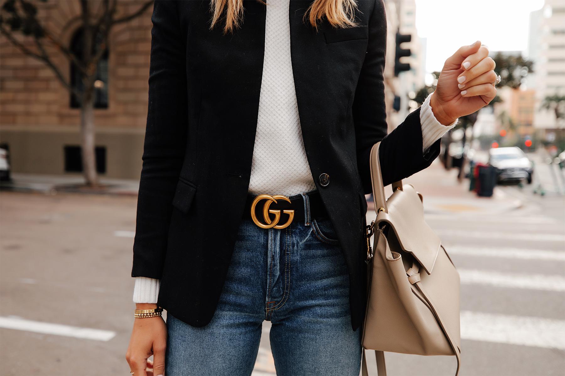 Fashion Jackson Wearing Jcrew Regent Black Blazer White Sweater Gucci Double G Black Belt