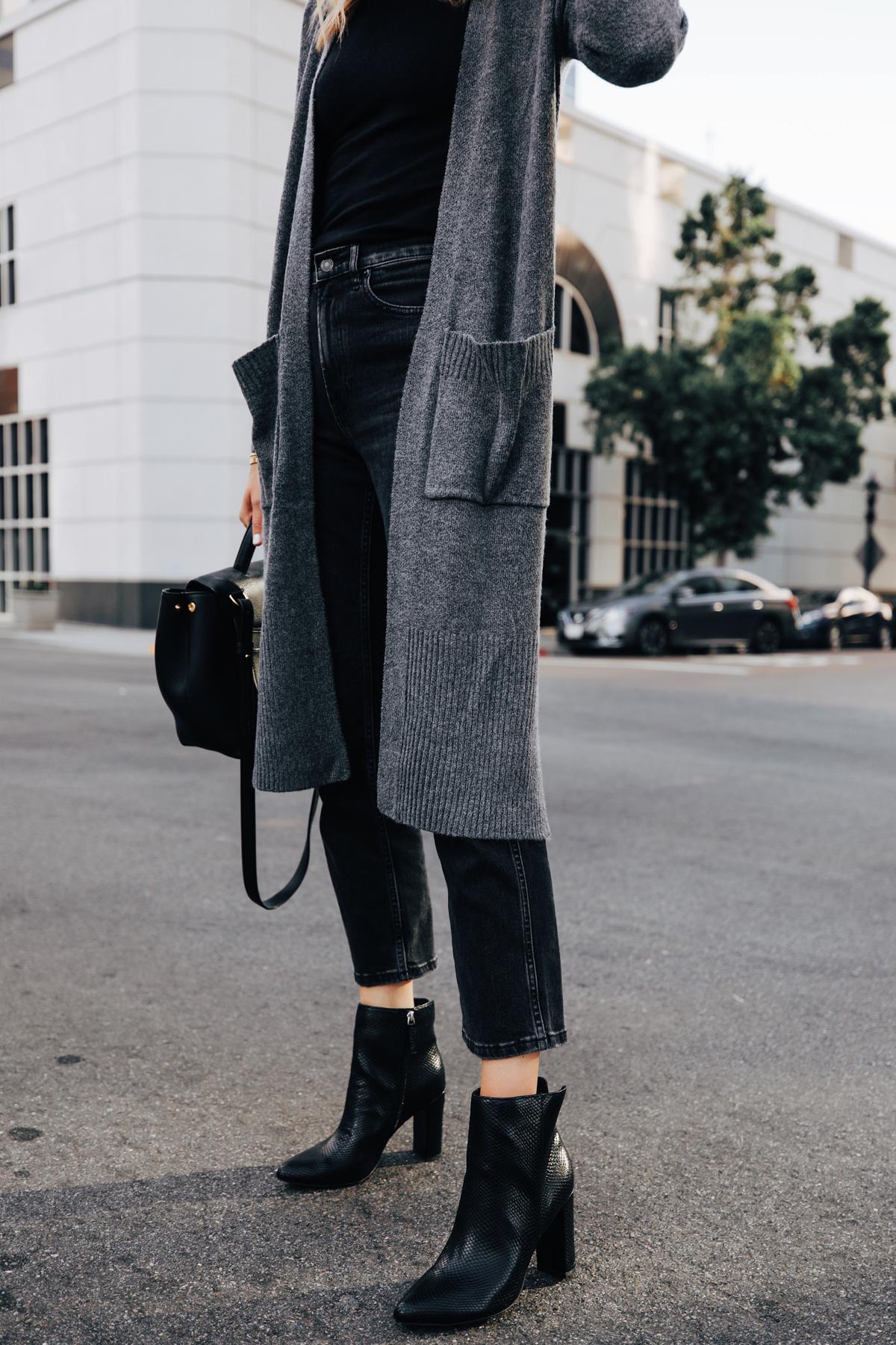 Fashion Jackson Wearing Long Grey Cardigan Black Cropped Jeans Black Snakeskin Booties
