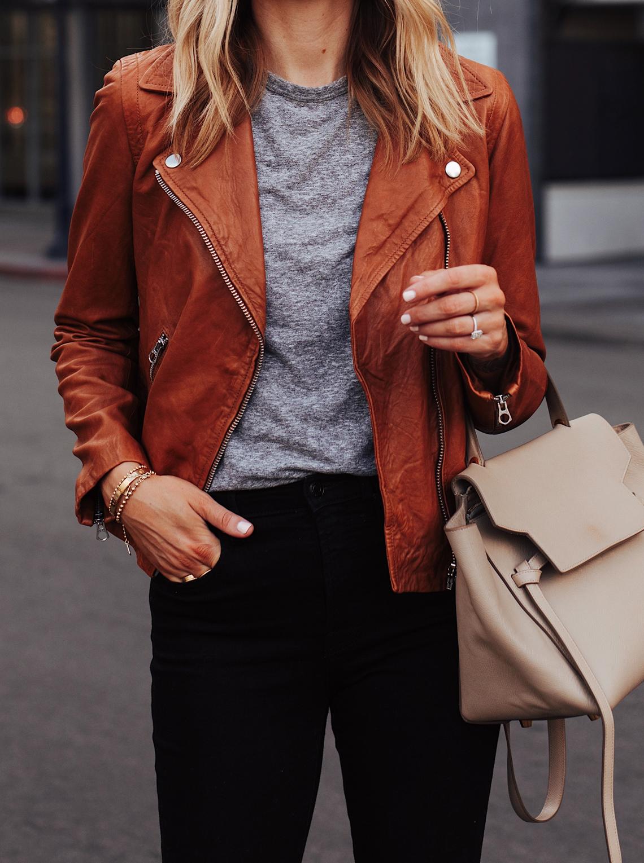 Fashion Jackson Wearing Madewell Tan Leather Jacket Grey Tshirt Black Jeans Celine Belt Bag