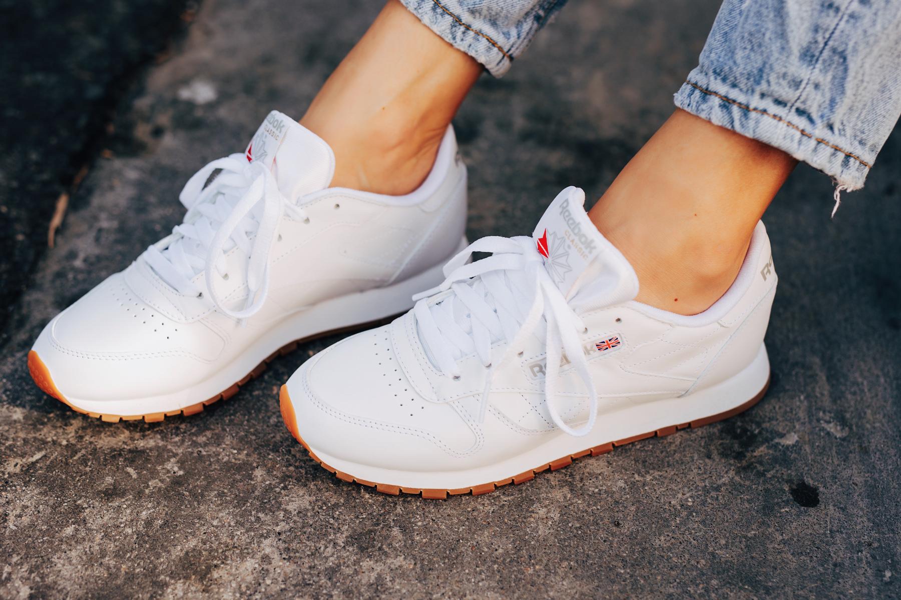 Fashion Jackson Wearing Reebok Classic Leather White Sneakers
