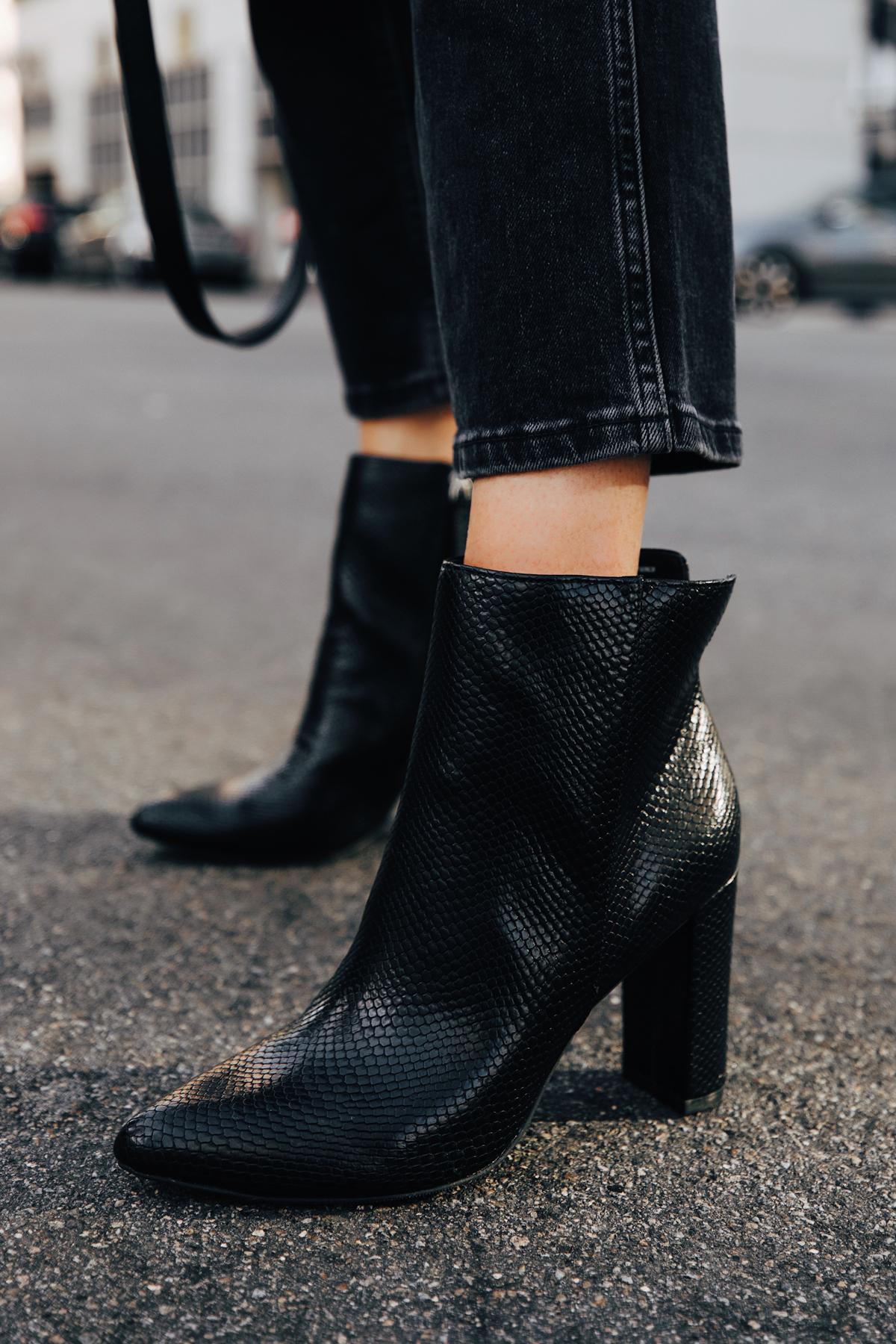 Fashion Jackson Wearing Walmart Scoop Black Snakeskin Booties