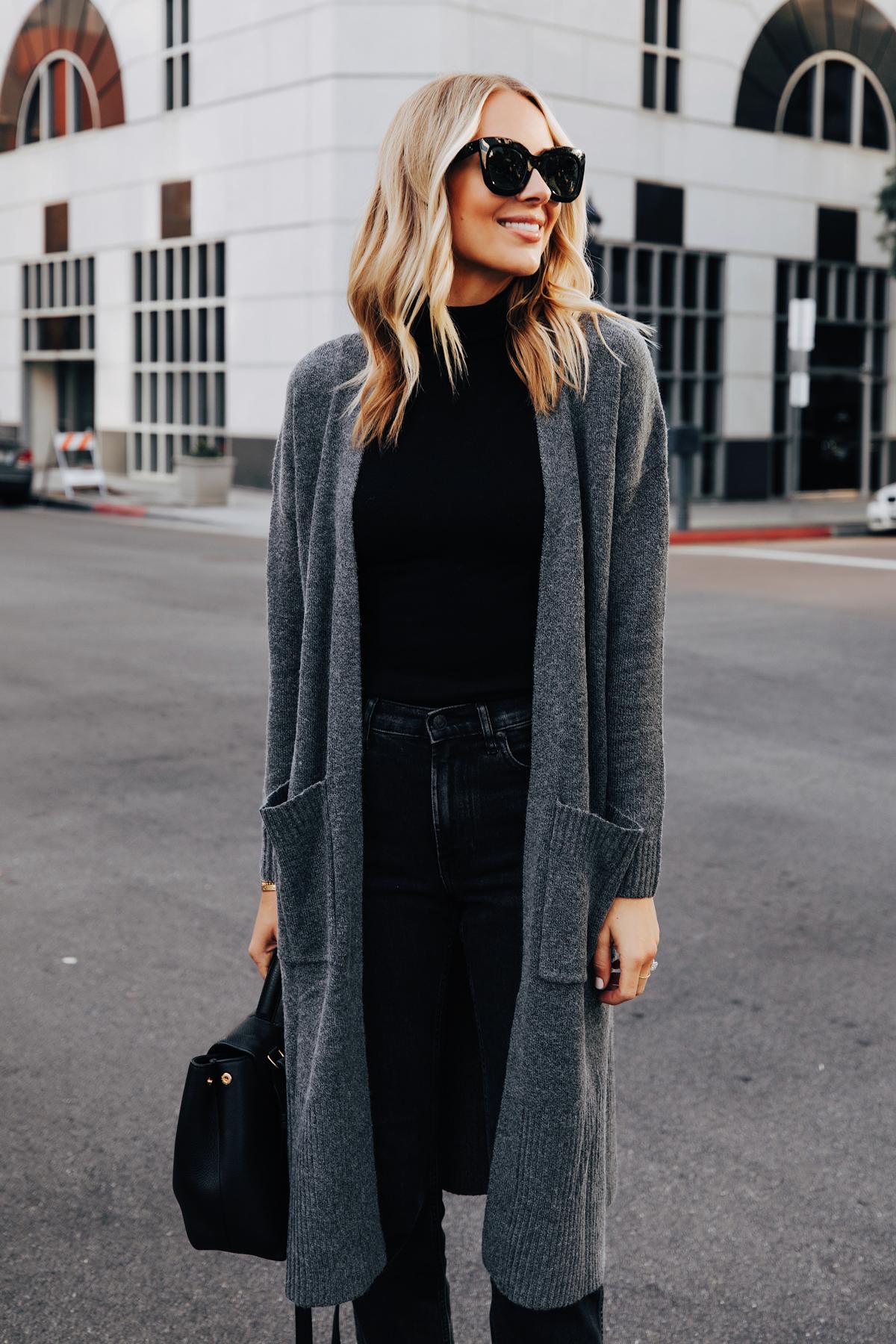 Fashion Jackson Wearing Walmart Scoop Long Grey Cardigan Black Top Black Jeans 1