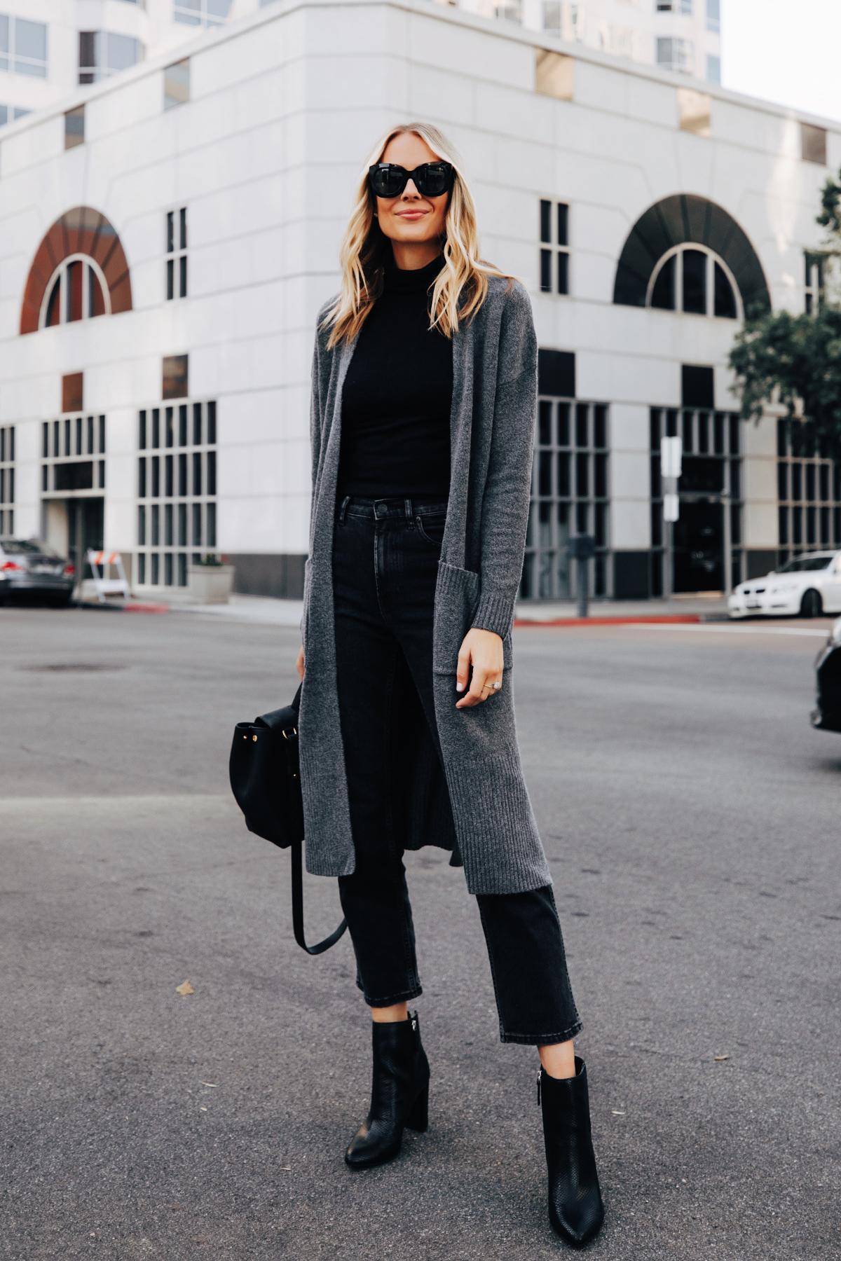 Fashion Jackson Wearing Walmart Scoop Long Grey Cardigan Black Top Black Jeans Black Snakeskin Booties 1