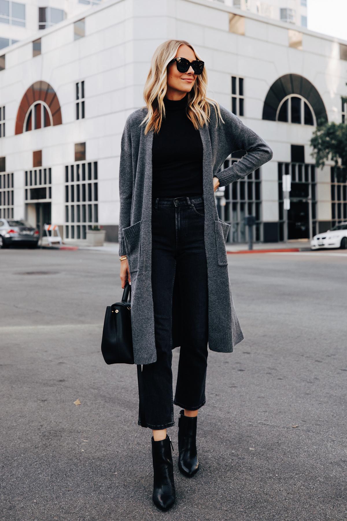 Fashion Jackson Wearing Walmart Scoop Long Grey Cardigan Black Top Black Jeans Black Snakeskin Booties 2