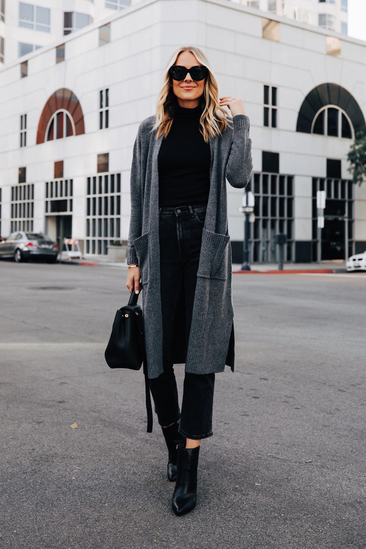 Fashion Jackson Wearing Walmart Scoop Long Grey Cardigan Black Top Black Jeans Black Snakeskin Booties