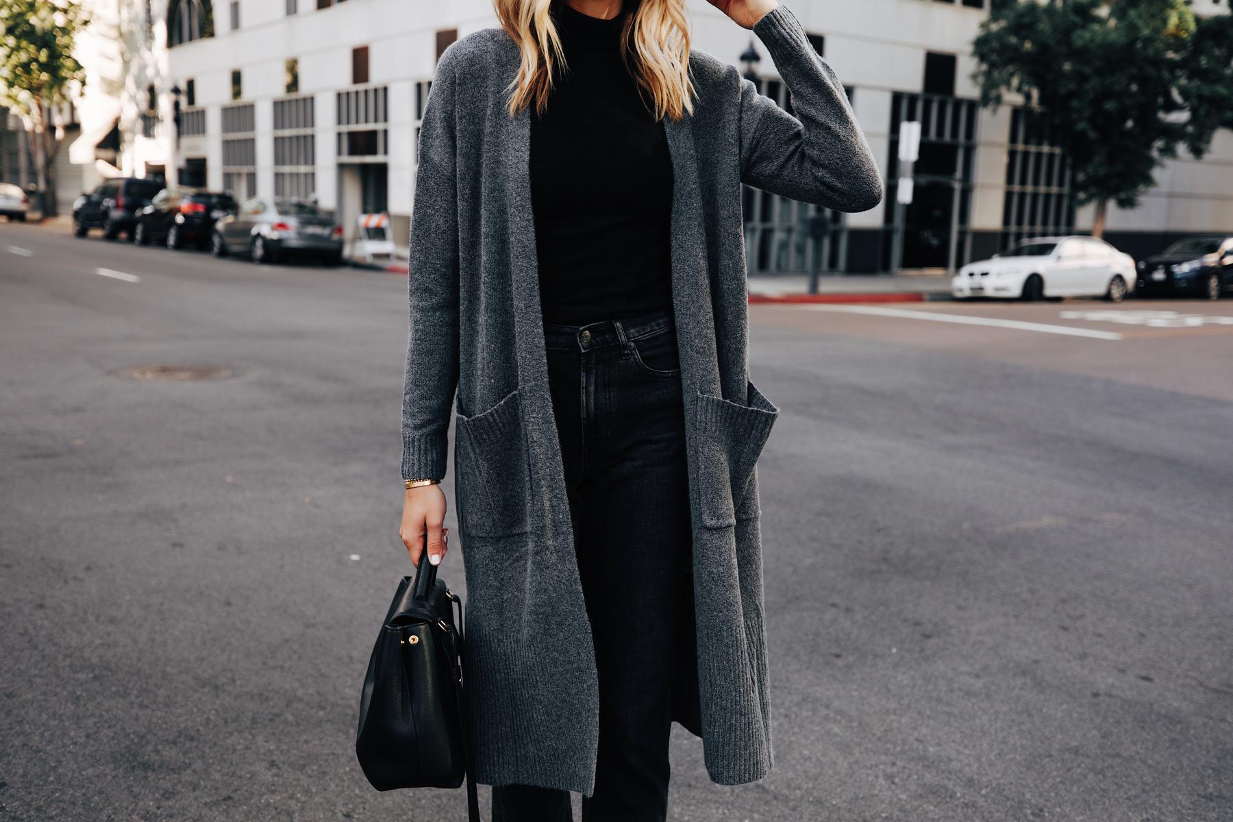 Fashion Jackson Wearing Walmart Scoop Long Grey Cardigan Black Top Black Jeans