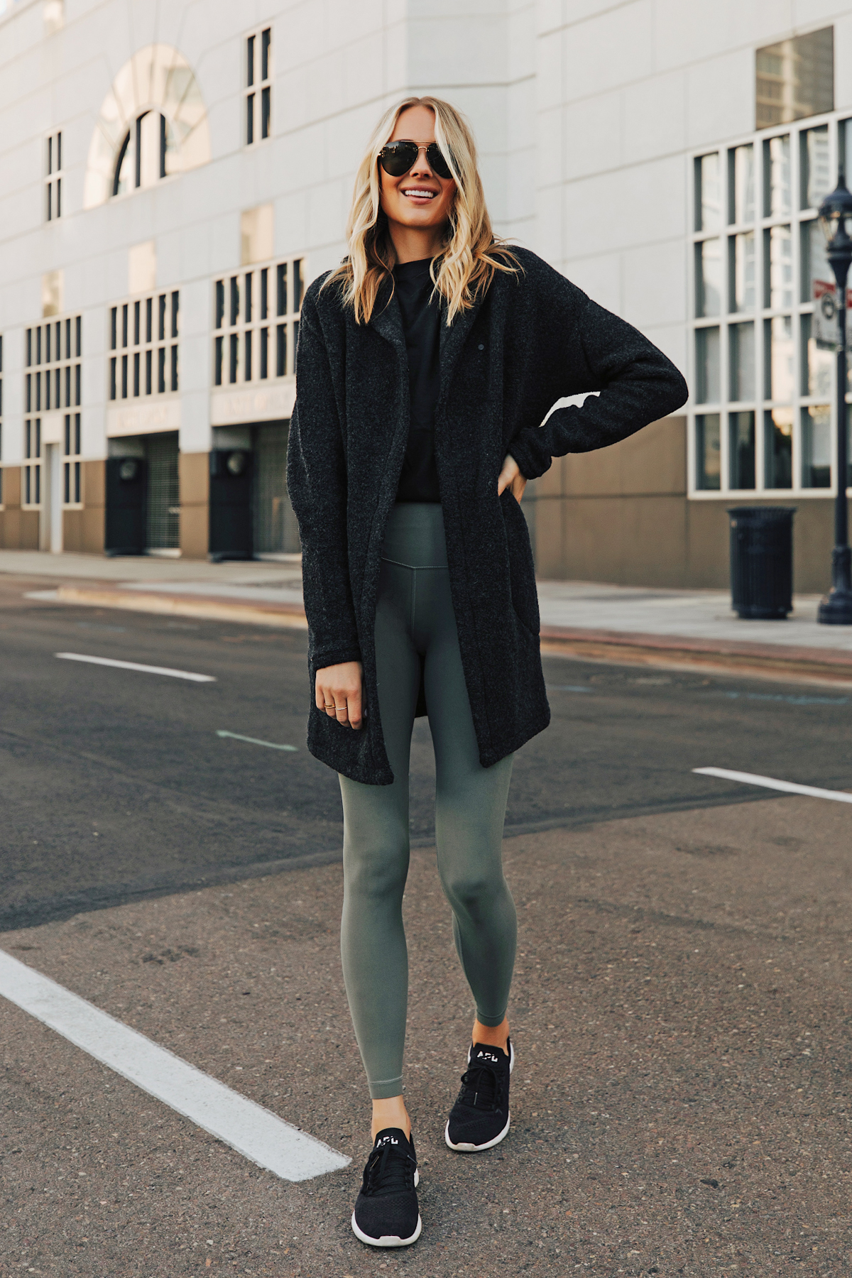 Fashion Jackson Wearing lululemon Sherpa Wrap Jacket lululemon Align Leggings Black APL Sneakers 1