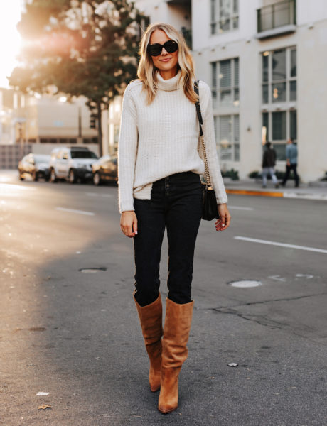 A Classic Abercrombie Sweater + Knee High Boots Fall Outfit