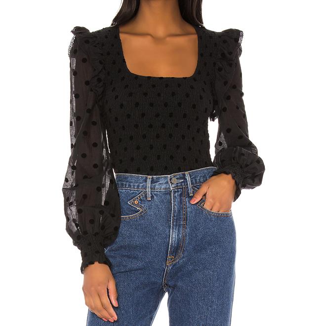 black swiss dot blouse