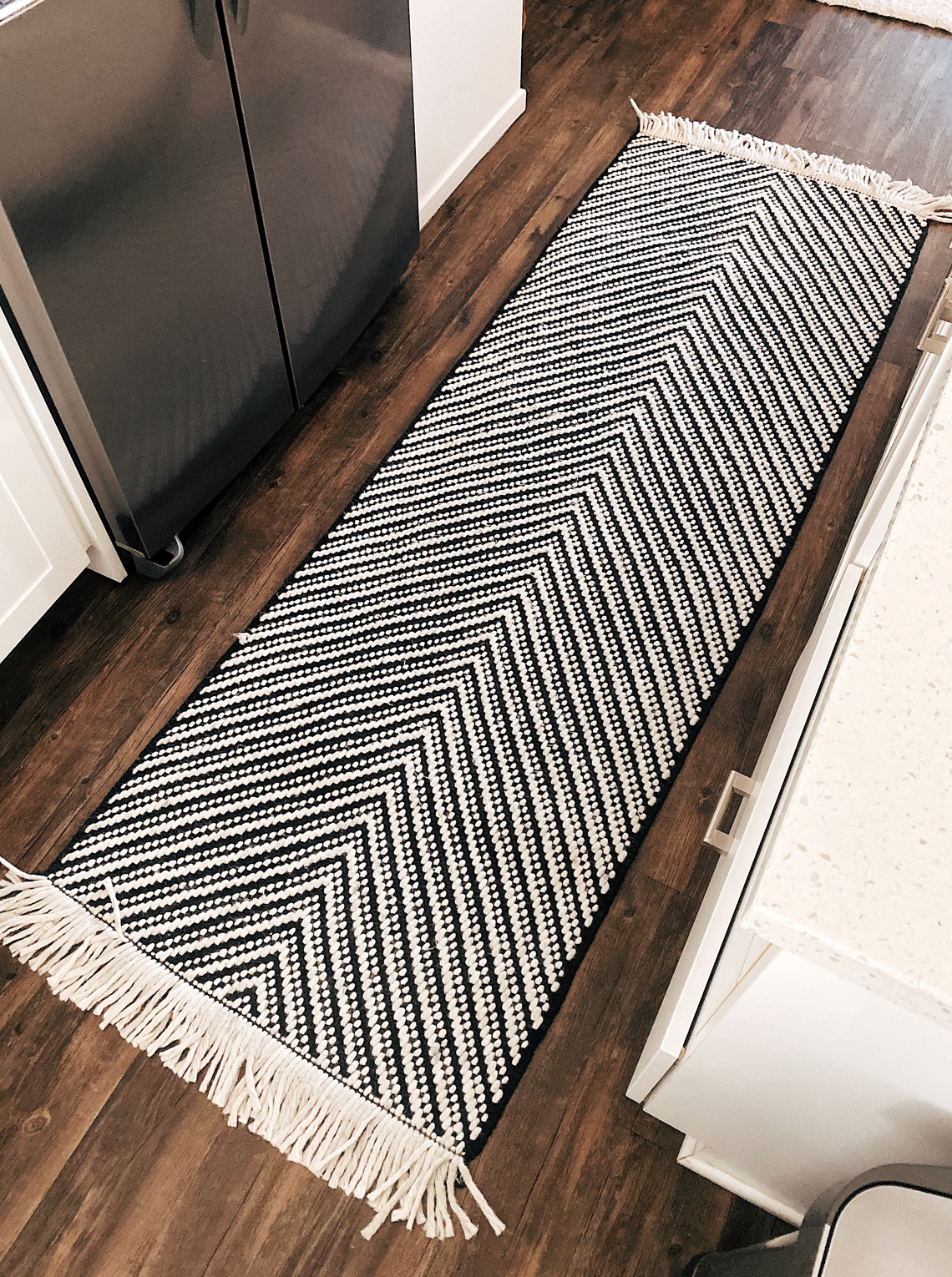 black white chevron kitchen rug runner