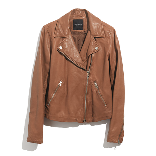 madewell tan leather jacket shop