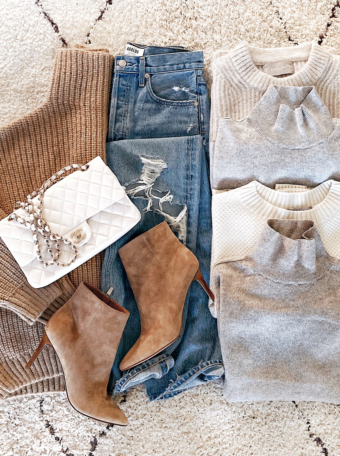 Fashion Jackson Fall Sweaters Ripped Jeans White Chanel Handbag Tan Suede Booties