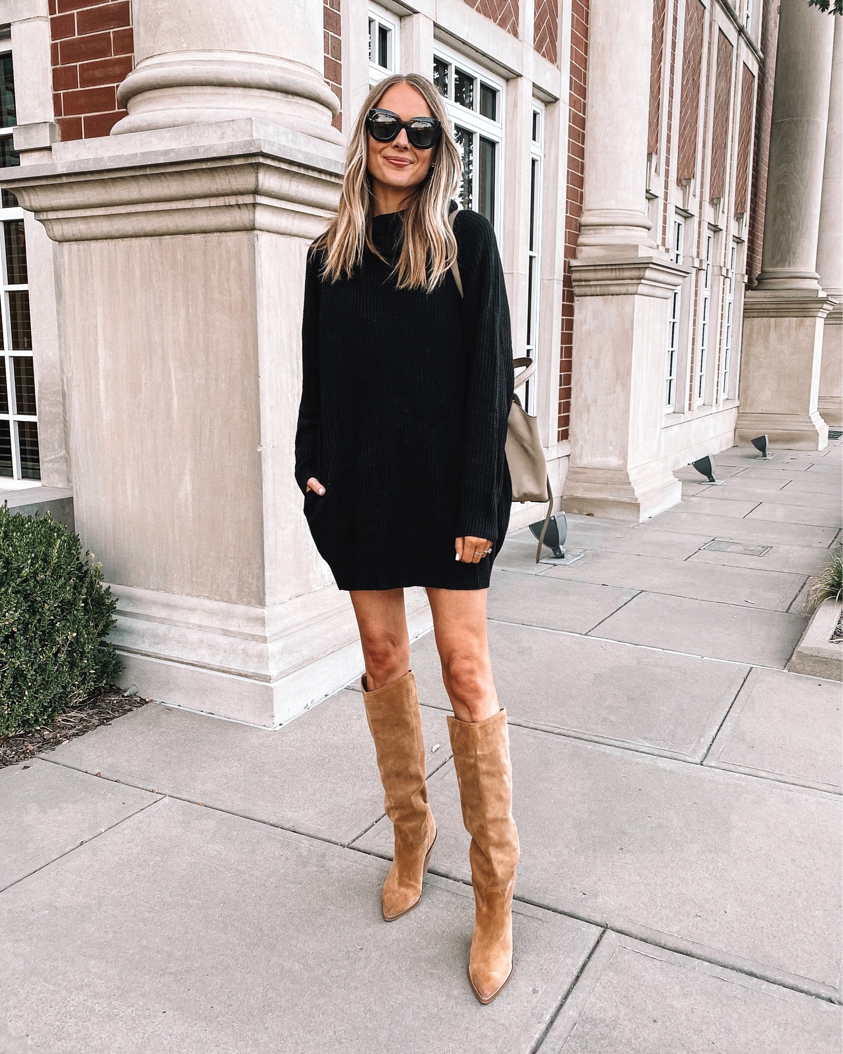 Fashion Jackson Wearing Amazon Fashion Black Sweater Dress Tan Knee High Boots Fall Outfit