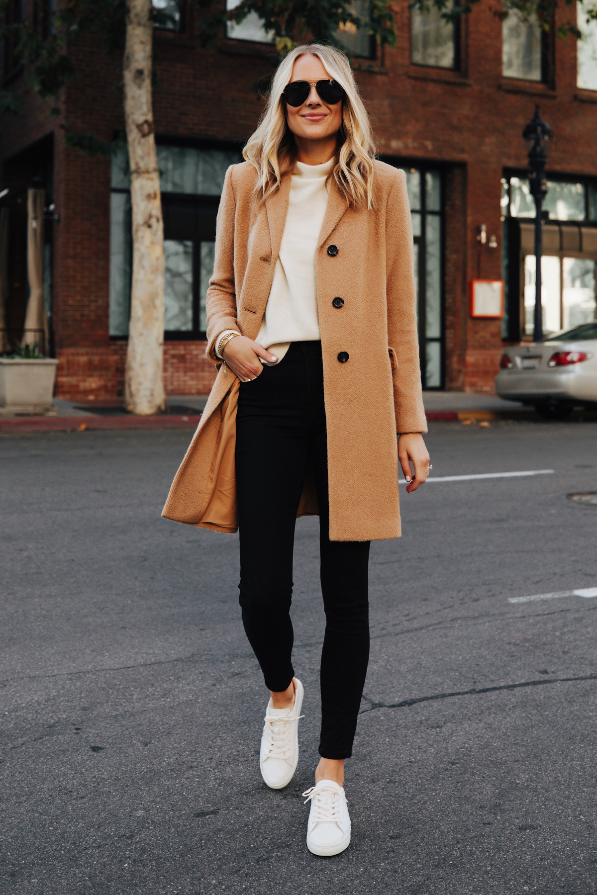 Fashion Jackson Wearing Ann Taylor Camel Coat White Sweater Black Skinny Jeans White Sneakers 1