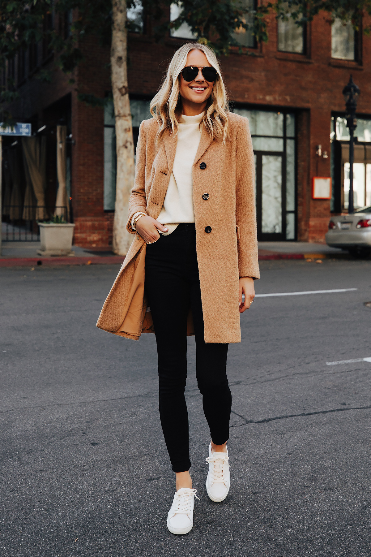 Fashion Jackson Wearing Ann Taylor Camel Coat White Sweater Black Skinny Jeans White Sneakers 3