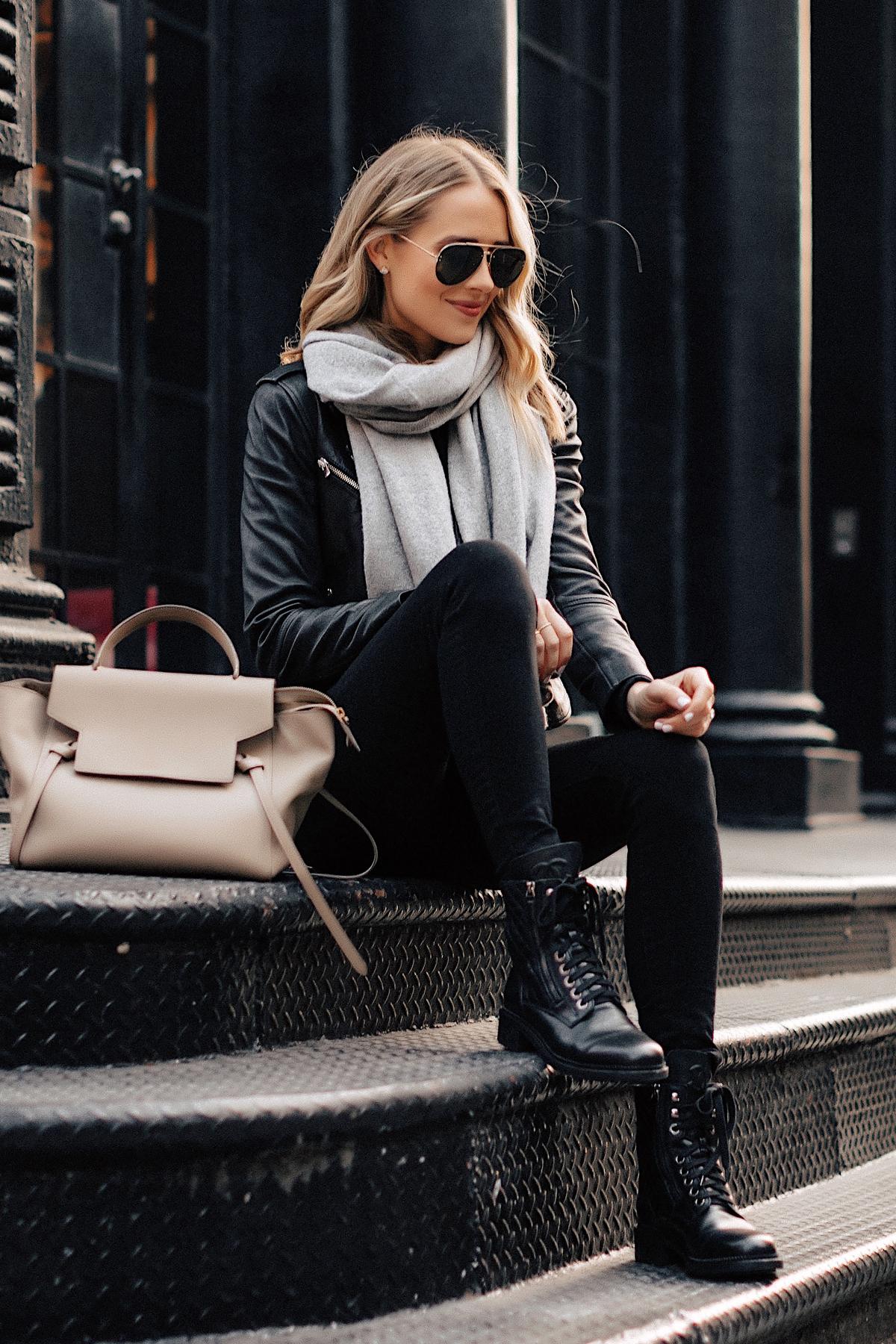 Fashion Jackson Wearing Black Leather Jacket Black Skinny Jeans Chanel Combat Boots Grey Scarf Celine Mini Belt Bag NYC Street Style