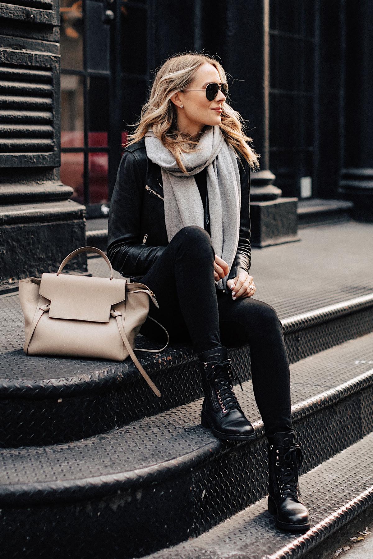 Fashion Jackson Wearing Black Leather Jacket Black Skinny Jeans Chanel Combat Boots Grey Scarf Celine Mini Belt Bag New York City Street Style