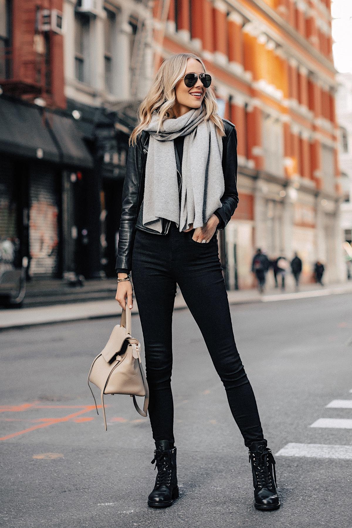 Fashion Jackson Wearing Black Leather Jacket Black Skinny Jeans Chanel Combat Boots Grey Scarf NYC Street Style 1