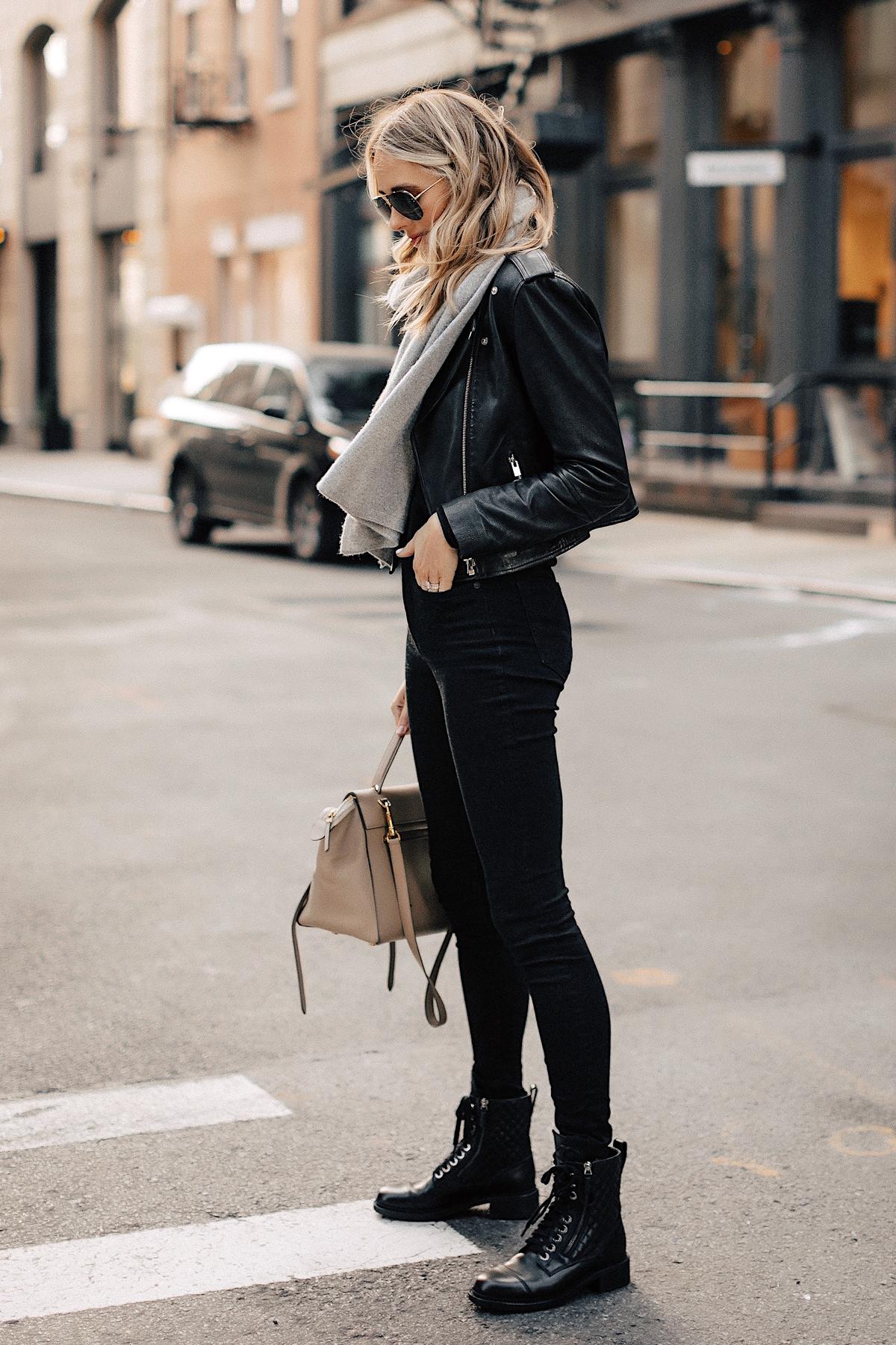 Fashion Jackson Wearing Black Leather Jacket Black Skinny Jeans Chanel Combat Boots Grey Scarf NYC Street Style