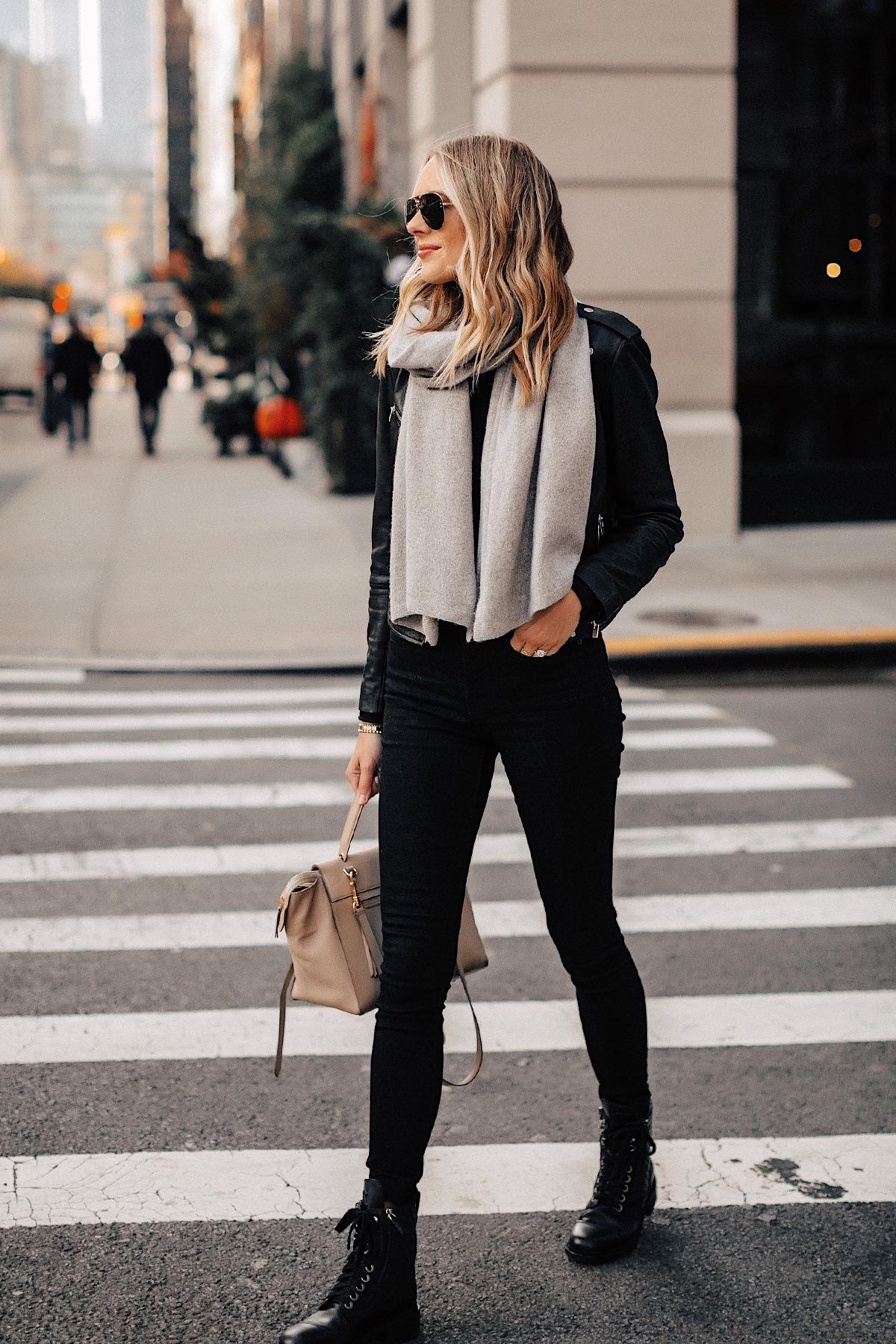 Fashion Jackson Wearing Black Leather Jacket Black Skinny Jeans Chanel Combat Boots Grey Scarf New York City Street Style