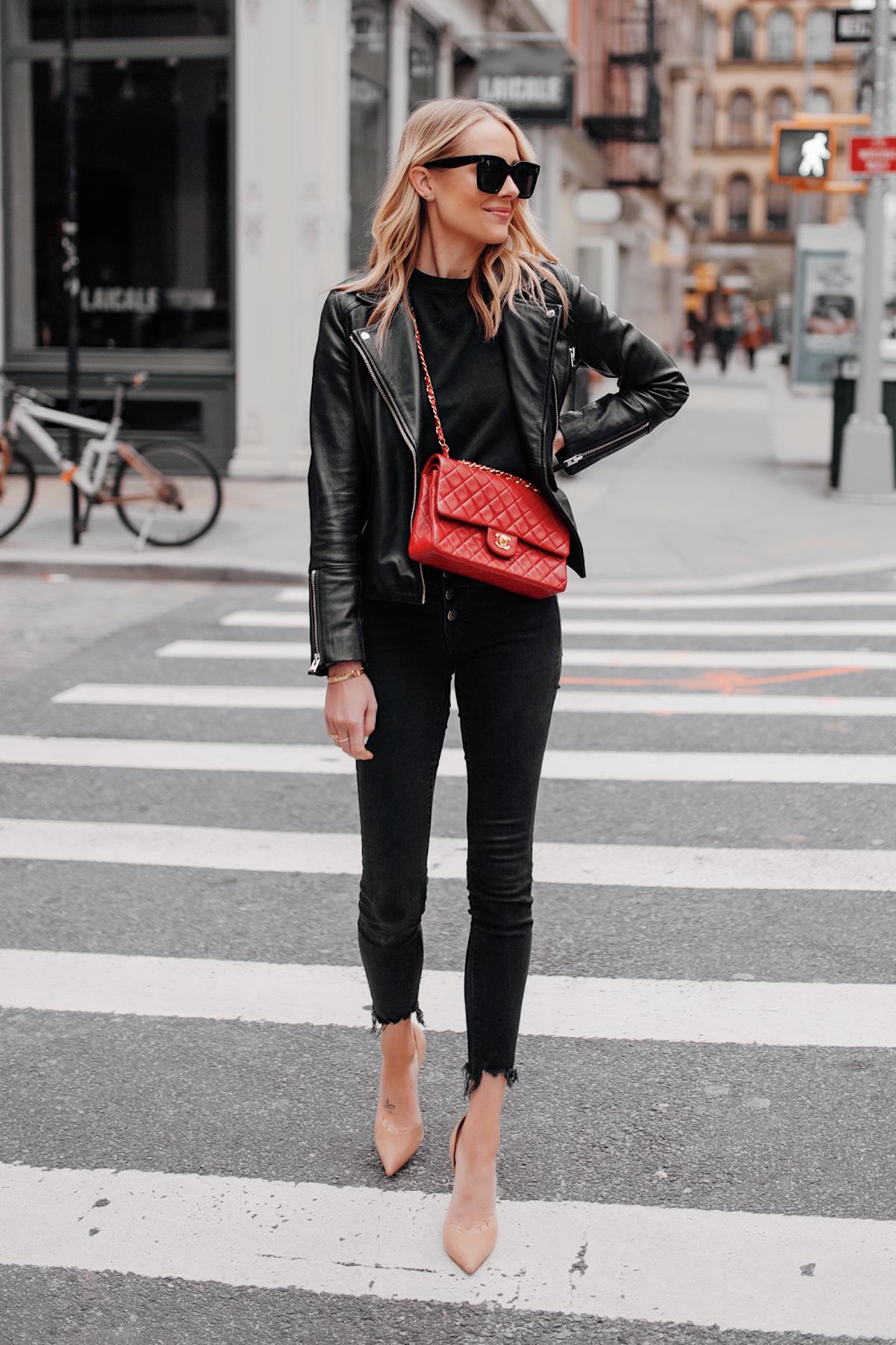 Fashion Jackson Wearing Black Leather Jacket Black Skinny Jeans Red Chanel Handbag Nude Pumps NYC Street Style 1