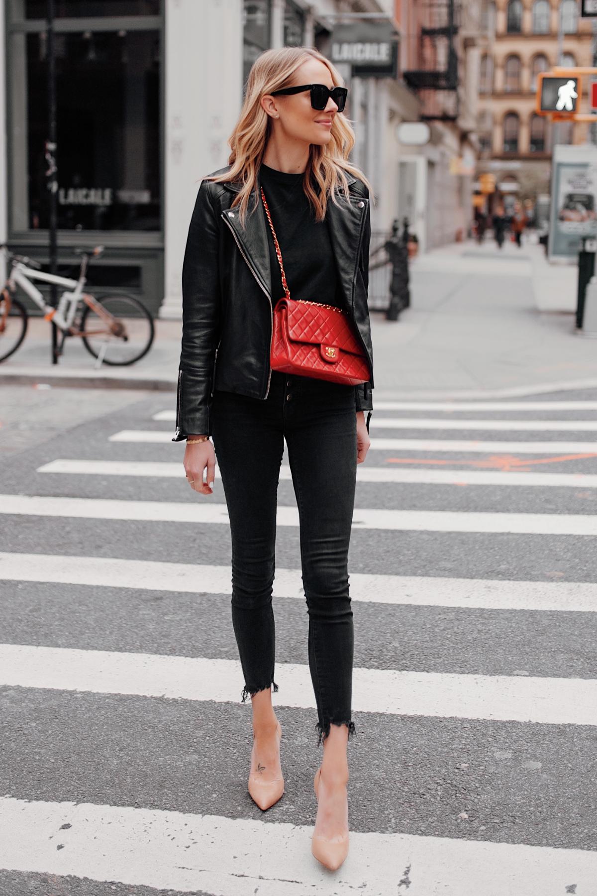 Fashion Jackson Wearing Black Leather Jacket Black Skinny Jeans Red Chanel Handbag Nude Pumps NYC Street Style 2