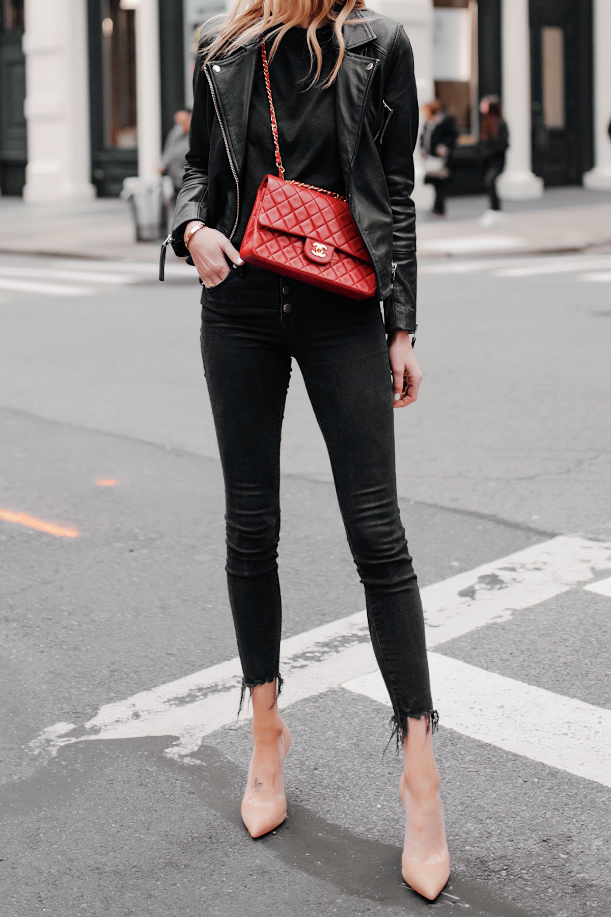 Fashion Jackson Wearing Black Leather Jacket Black Skinny Jeans Red Chanel Handbag Nude Pumps NYC Street Style 3