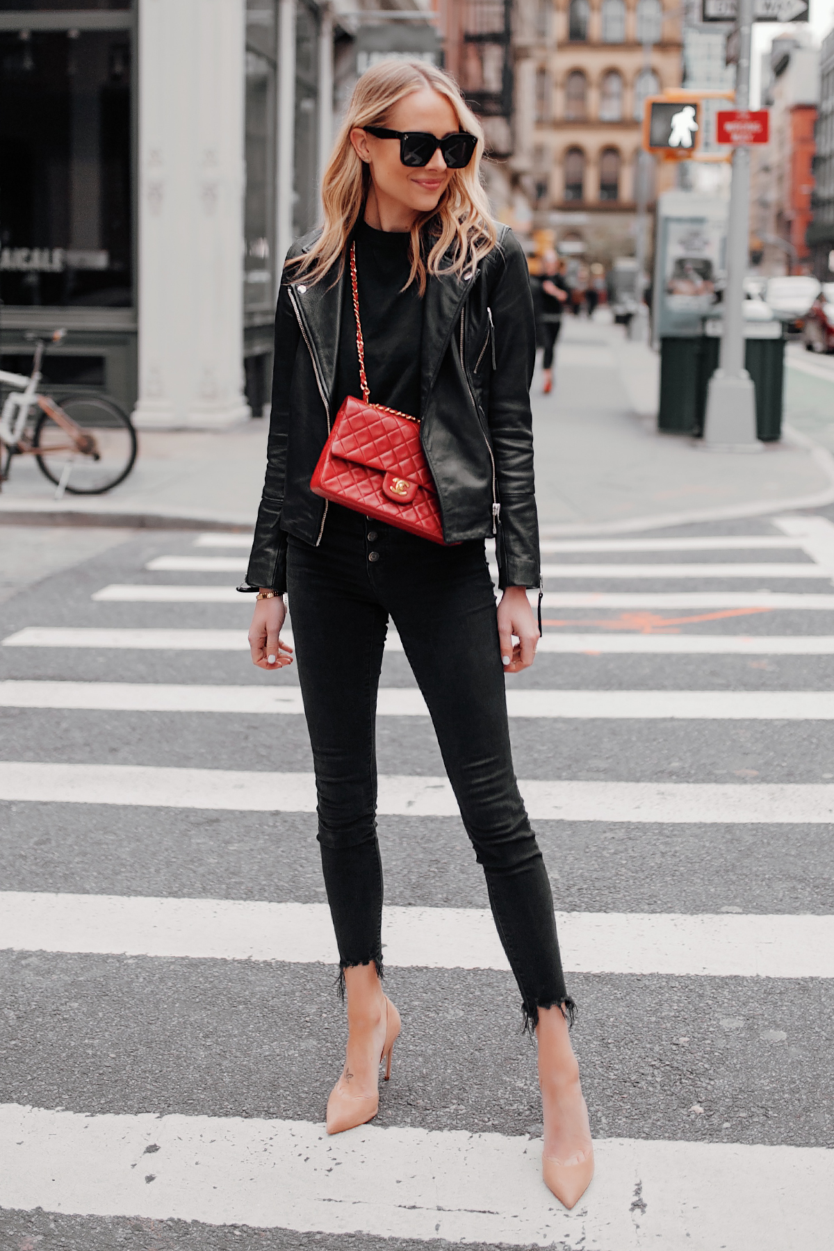Fashion Jackson Wearing Black Leather Jacket Black Skinny Jeans Red Chanel Handbag Nude Pumps NYC Street Style