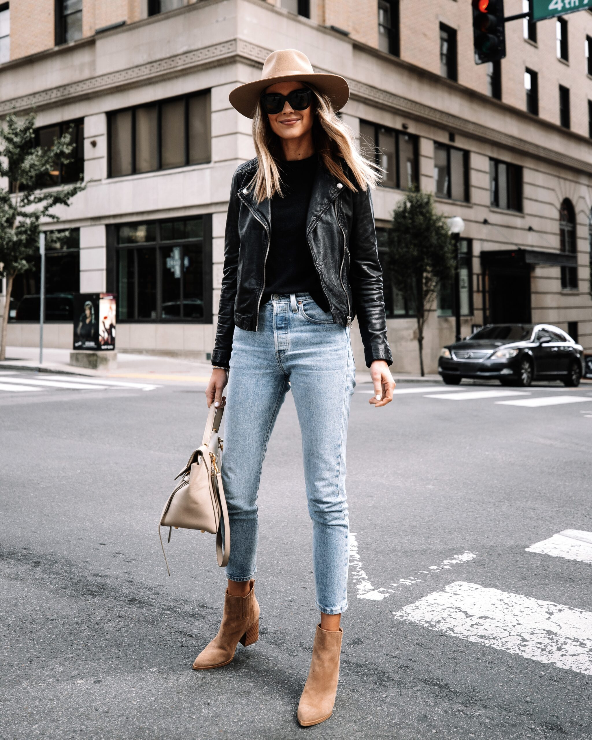 Fashion Jackson Wearing Black Leather Jacket Levis Jeans Tan Suede Booties Tan Fall Hat