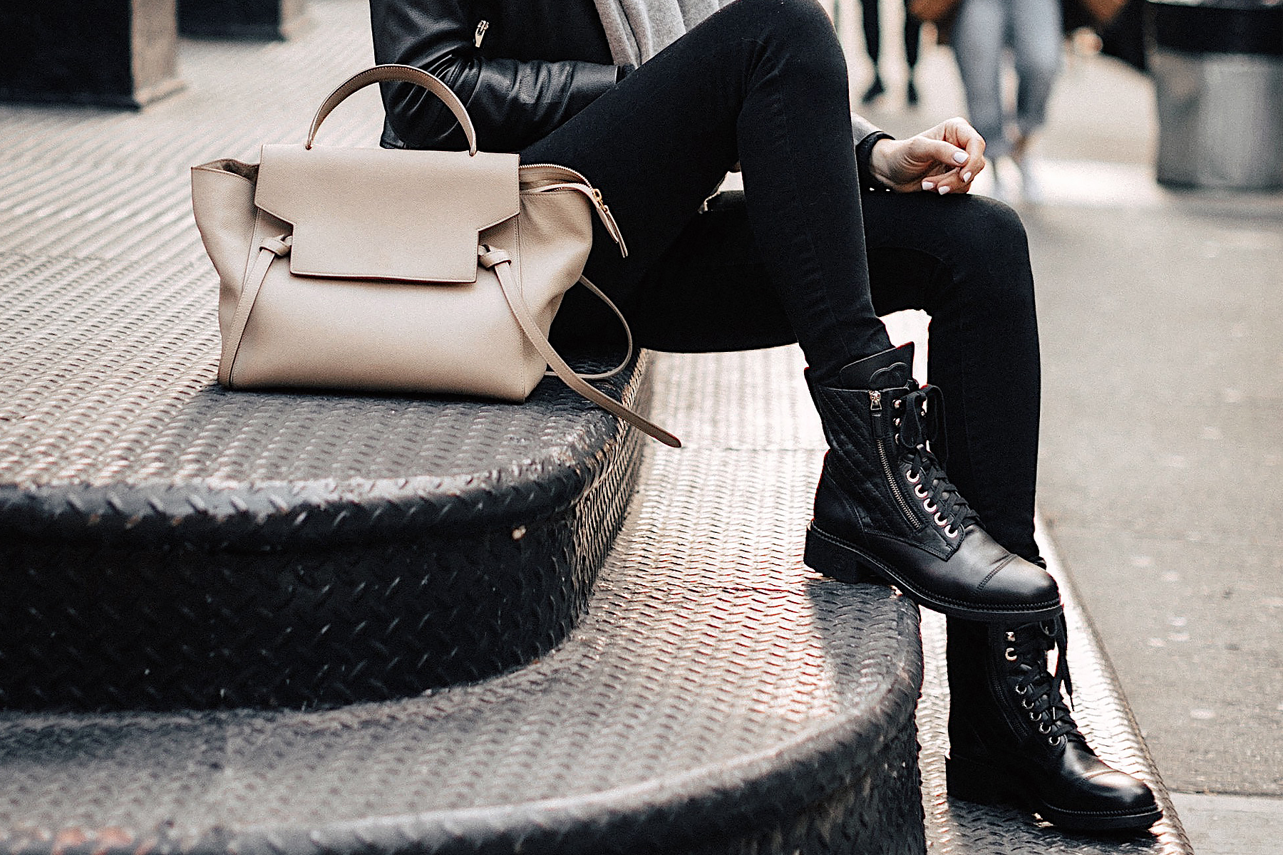 Fashion Jackson Wearing Black Skinny Jeans Chanel Quilted Combat Boots Celine Taupe Mini Belt Bag