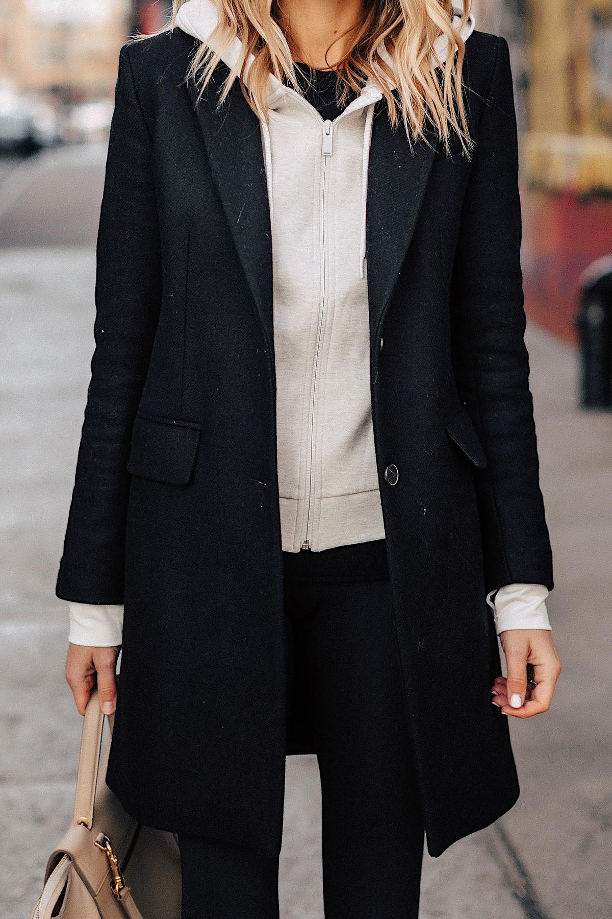 Fashion Jackson Wearing Black Wool Coat Grey Hoodie