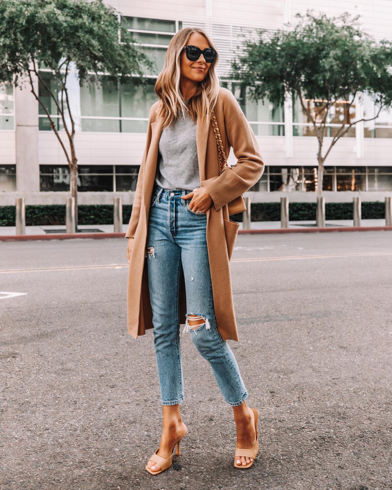 Fashion Jackson Wearing Camel Coatigan Grey Sweater Levis Ripped Jeans Nude Heels
