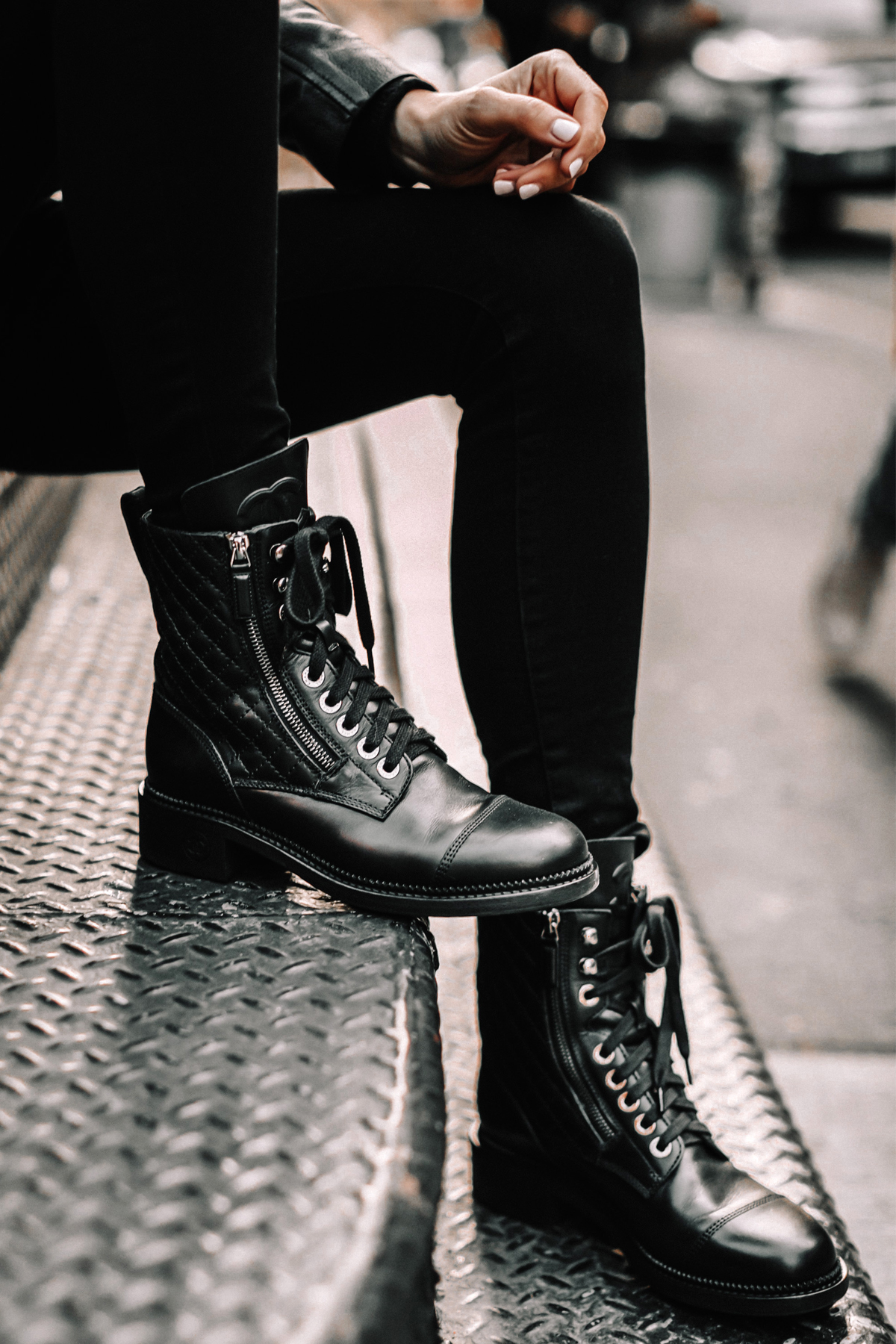 Fashion Jackson Wearing Chanel Quilted Black Combat Boots