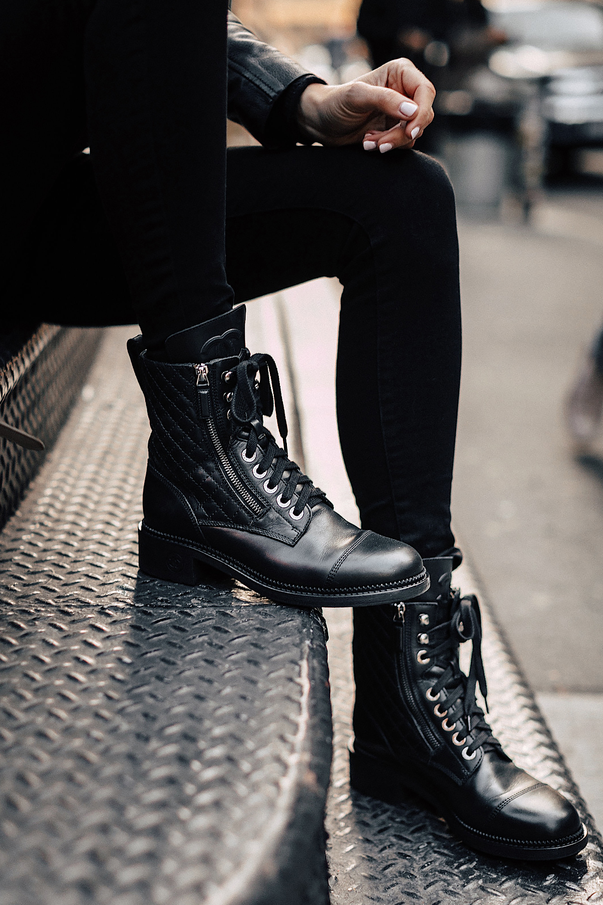 Fashion Jackson Wearing Chanel Quilted Combat Boots 1