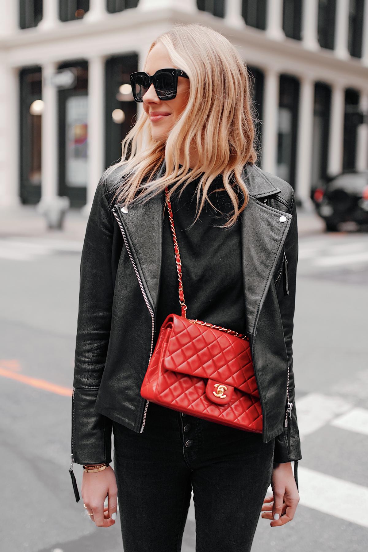Fashion Jackson Wearing Club Monaco Black Leather Jacket Black Jeans Red Chanel Handbag 1