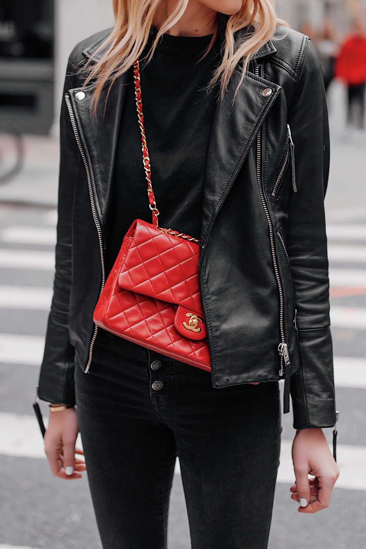 Fashion Jackson Wearing Club Monaco Black Leather Jacket Black Jeans Red Chanel Handbag