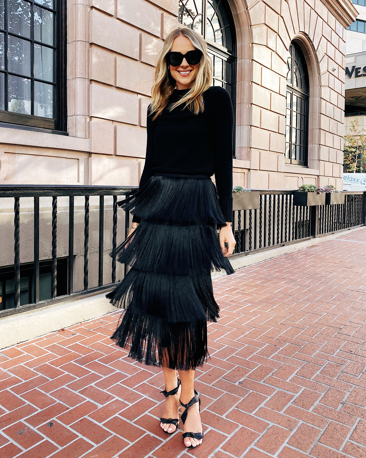 Fashion Jackson Wearing Club Monaco Black Sweater Black Fringe Midi Skirt
