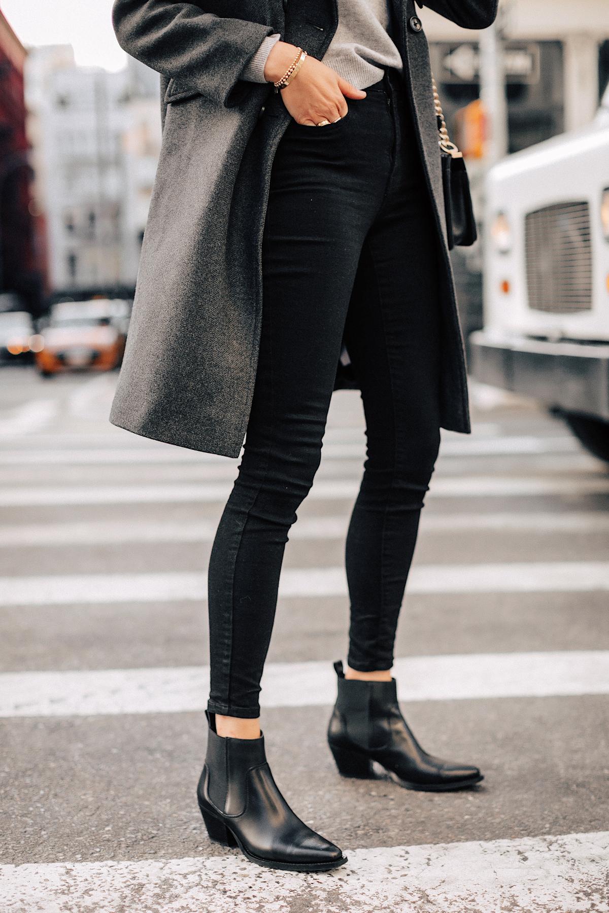 Fashion Jackson Wearing Everlane Black Skinny Jeans Everlane Black Booties