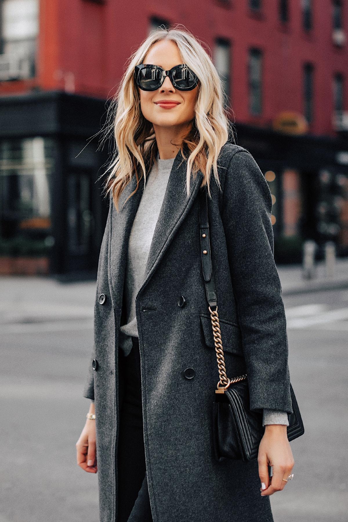 Fashion Jackson Wearing Grey Everlane Wool Coat Grey Sweater