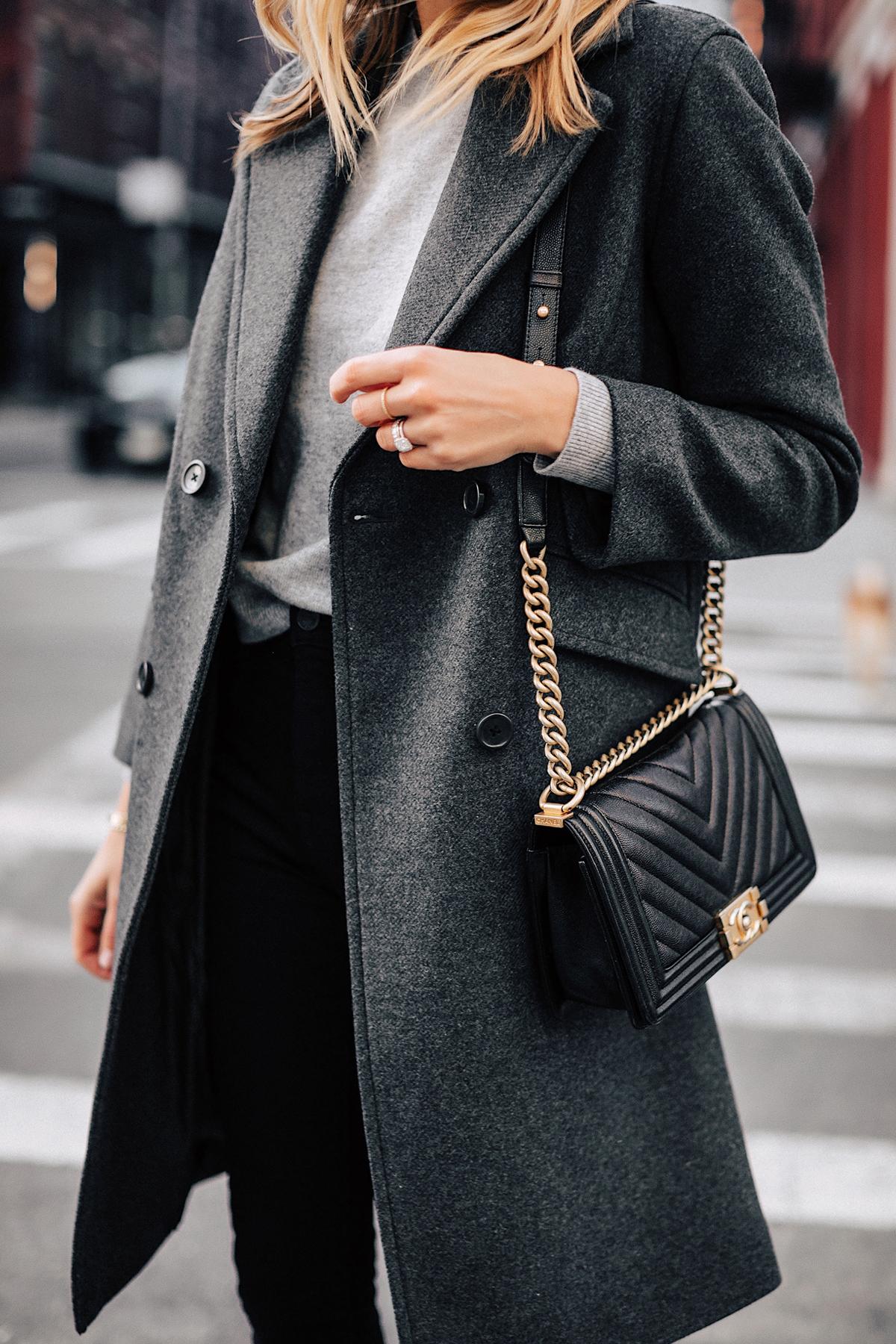 Fashion Jackson Wearing Grey Everlane Wool Overcoat Grey Sweater Black Chanel Boy Bag