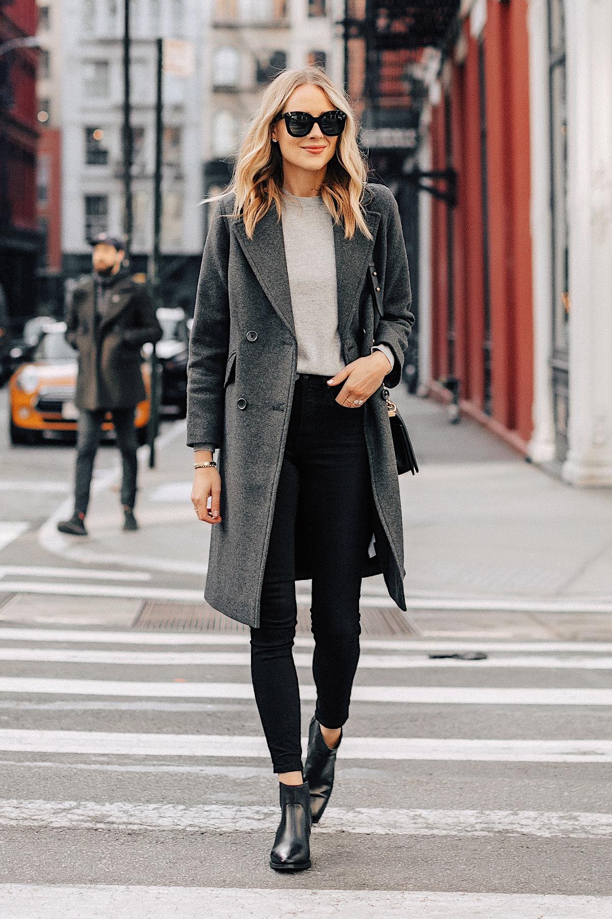 Fashion Jackson Wearing Grey Everlane Wool Overcoat Grey Sweater Black Skinny Jeans Black Booties