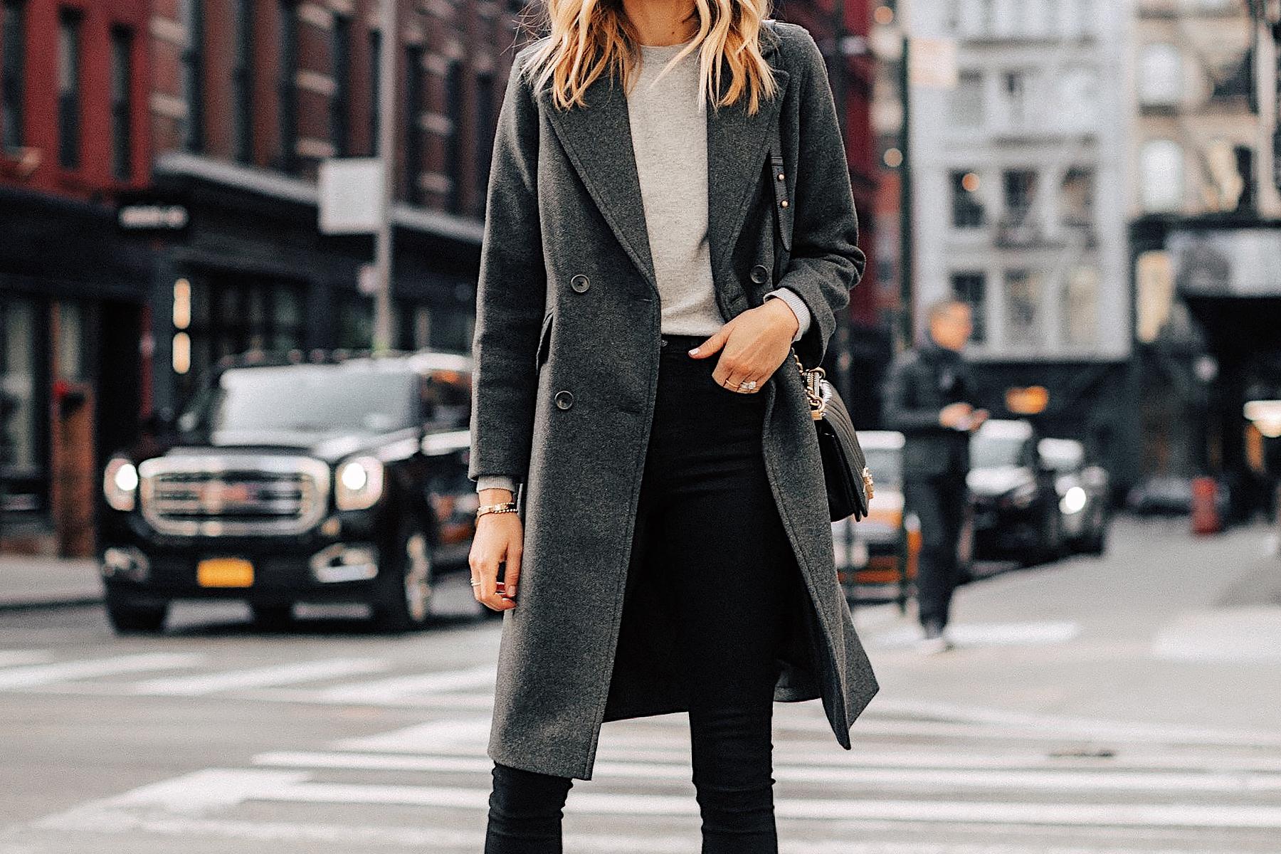 Fashion Jackson Wearing Grey Everlane Wool Overcoat Grey Sweater Black Skinny Jeans