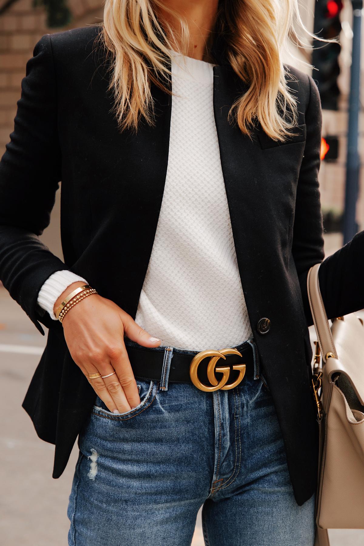 Fashion Jackson Wearing JCrew Black Blazer White Sweater Gucci Belt